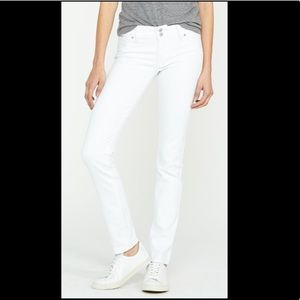 White Hudson Colin Midrise Skinny Jeans Distressed